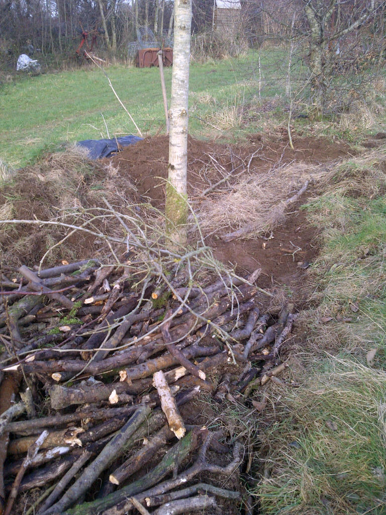 Front: Hugal bed filled with wood. Behind is the next section, dug ready to receive more wood.
