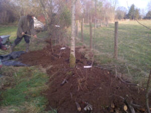 The top soil is replaced and then the plants planted into the top of the Hugal bed