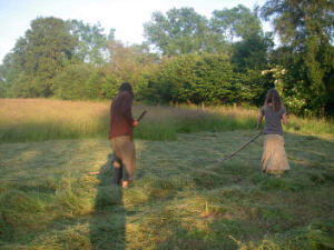 Phil and I rowing up the hay together in the late evening