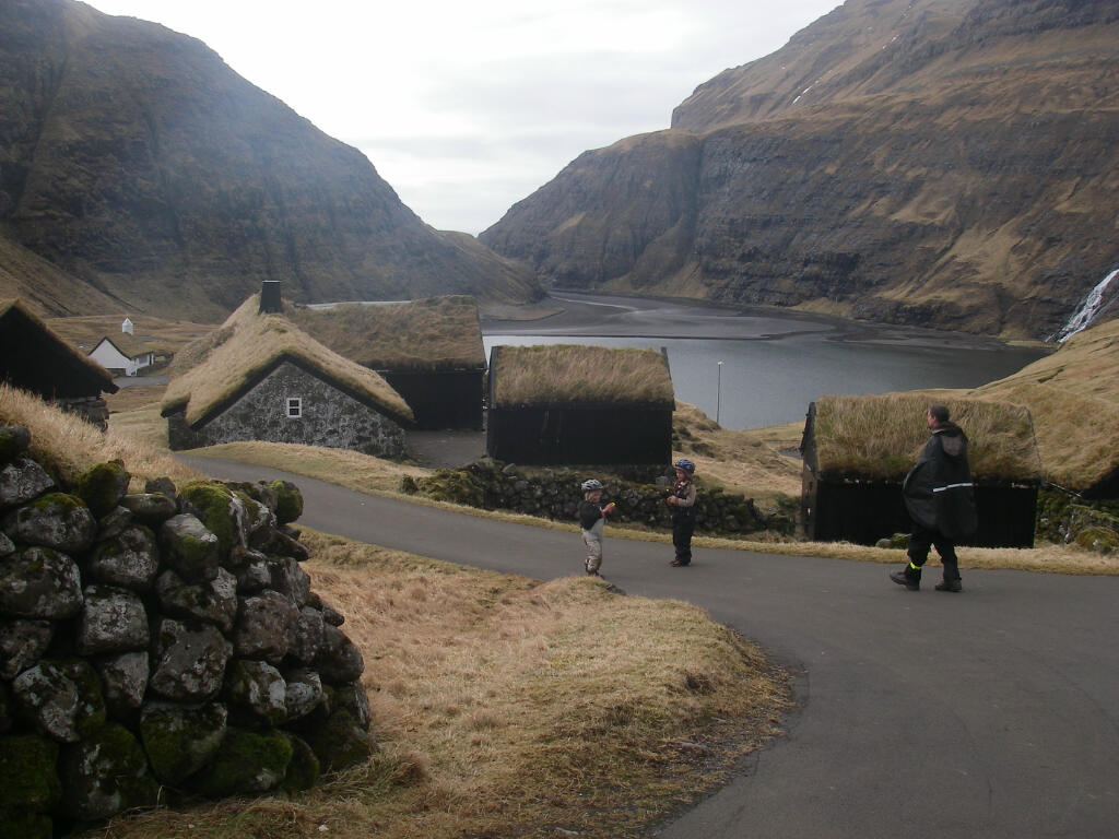 The farm museum at Saksun with the tidal lagoon and mountains beyond