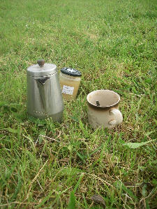 Essential parts of an early morning mowing kit!  Coffee sweetened with honey from our own bees