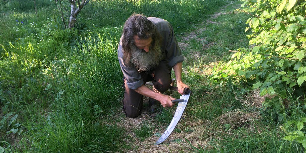 Sharpening a 50cm scythe blade