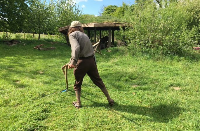 Mowing barn lawn with roundhouse